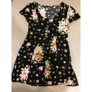 Flower button up T-shirt dress